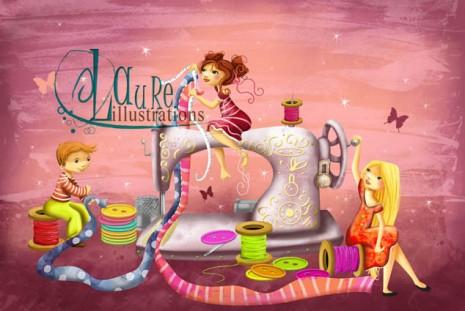 illustration de machine à coudre avec des enfants féérie
