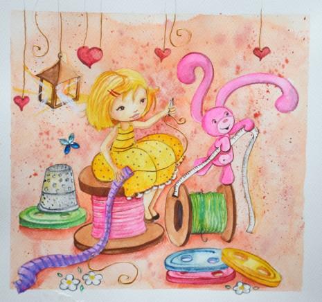 Aquarelle pour une petite fille qui adore la couture